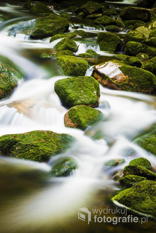 Górski strumień w Karkonoszach. Nieopodal wodospadów Szklarki.