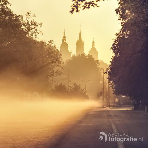 Zdjęcie wykonane w mglisty poranek z krakowskich Błoń, przedstawia wierze ratuszową oraz wierze kościoła Mariackiego w otoczeniu drzew spowitych mgłą.