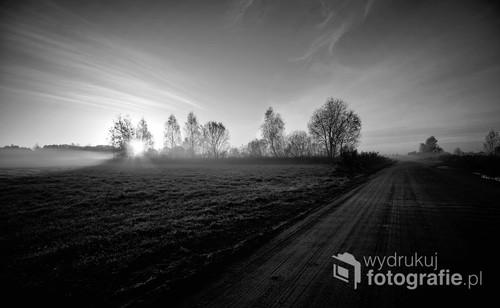 Piękne tereny w okolicach Białowieży o wschodzie słońca. Delikatny szron dodaje uroku tego miejsca.