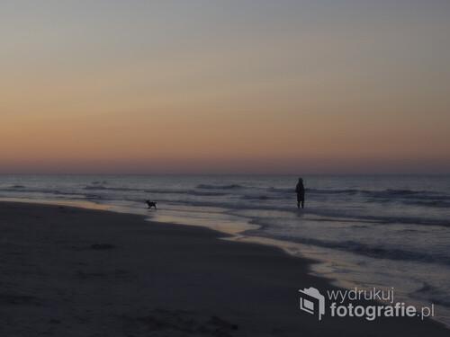 Plaża w Białogórze, chwilę po zachodzie słońca
