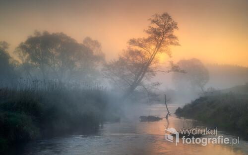 Wschód słońca nad rzeką Rudą (woj. Śląskie)