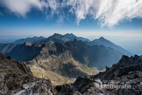Słowackie Tatry Wysokie- panorama wykonana ze szczytu Gerlacha