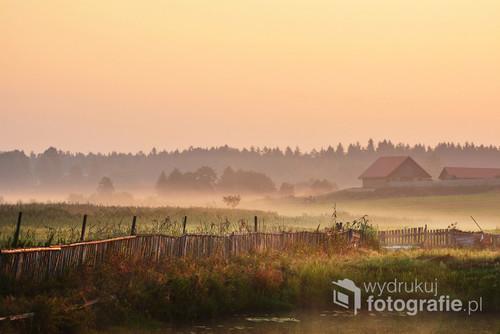 Piękny, mglisty poranek na Podlasiu.
