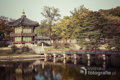 Emperor palace at Seoul. South Korea. Lake. Mountain. Reflections on lake. Autumn time.