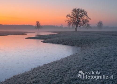 Fotografia przedstawia rozlewiska rzeki Bug ,która rozlewając się na pofałdowane pastwiska tworzy niesamowity krajobraz w lekko zimowej odsłonie.