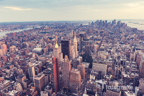 New York Cityscape. Aerial view.Panoramic. Manhattan. Retro styled. Vinatge effect.