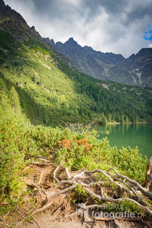 Poland. Tatry mountains. Mountain trail next to the lake with sea eye