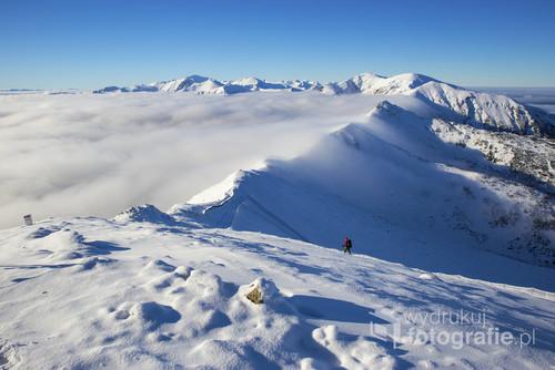 Zimowy widok z Kasprowego Wierchu, Tatry.