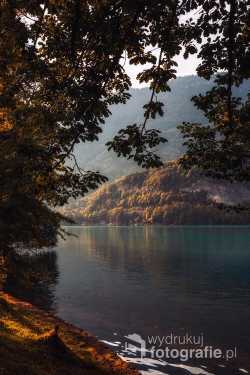 Jezioro Brienzersee w Szwajcarii. Zdjęcie wykonane z miejscowości Interlaken.