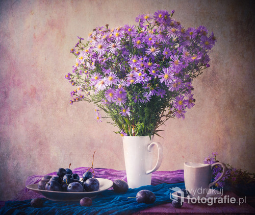 Still life with bouquet of purple autumn astris