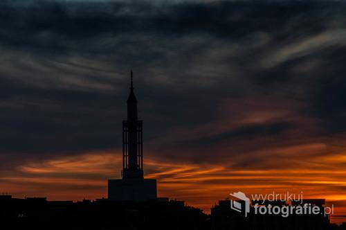 Kościół Św.Rocha Białystok  podczas zachodu słońca