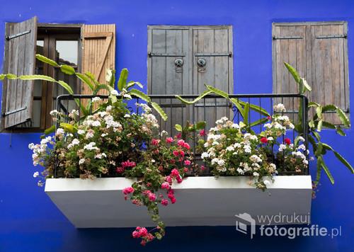 Urokliwy balkon w miasteczku Lefkara na Cyprze