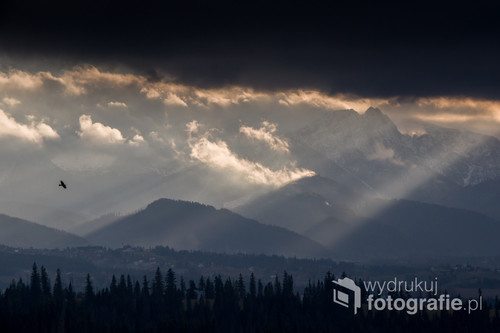Widok z Gliczarowa Górnego na Tatry, kruki o tej porze roku są wyjątkowo akywne