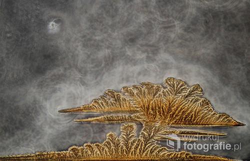 Fotografia mikroskopowa skrystalizowanego odkamieniacza w kontraście fazowym i w świetle spolaryzowanym - potrafi przywołać skojarzenia daleko wykraczjące poza nasze ziemskie krajobrazy.